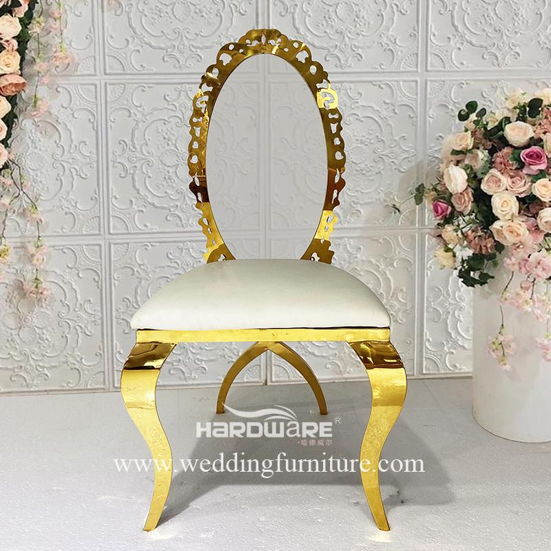 Luxury royal gold metal frame acrylic wedding king chair