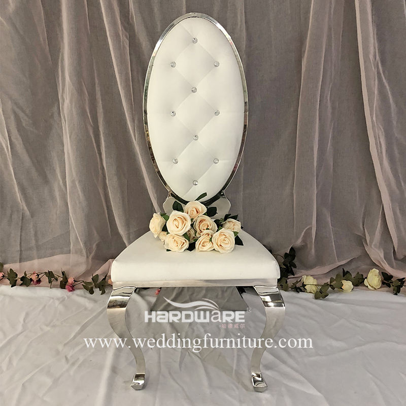 King throne silve metal high back royal wedding chair