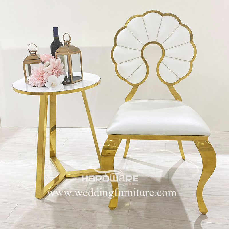 Event design stainless steel frame genuine leather dining chair