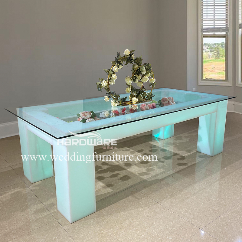 Table rectangle acrylic wedding table with LED light