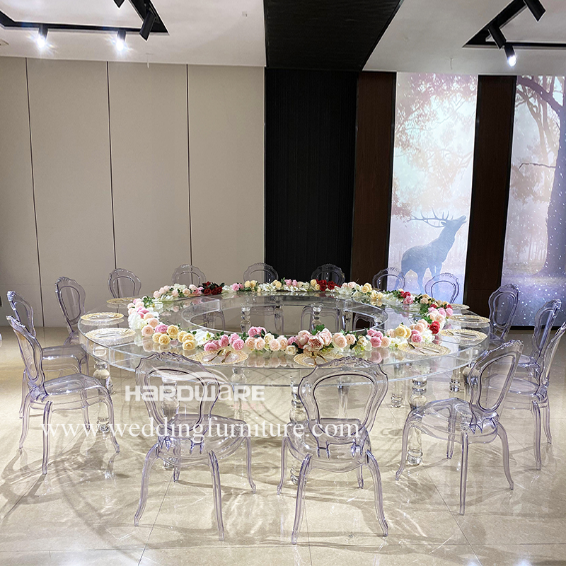 Table full round transparent acrylic wedding table