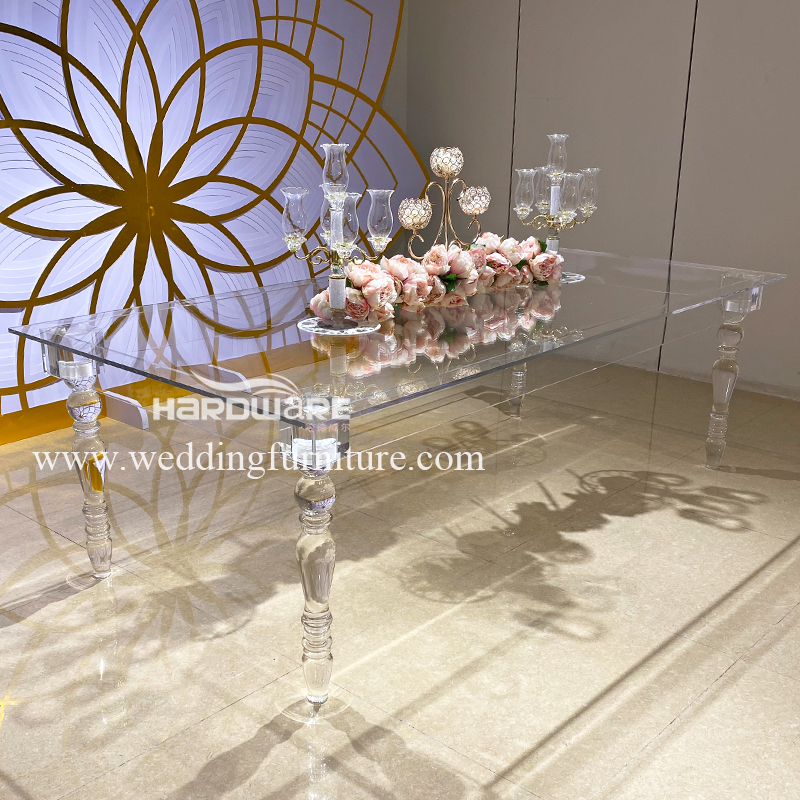 Table clear crystal acrylic event dining table