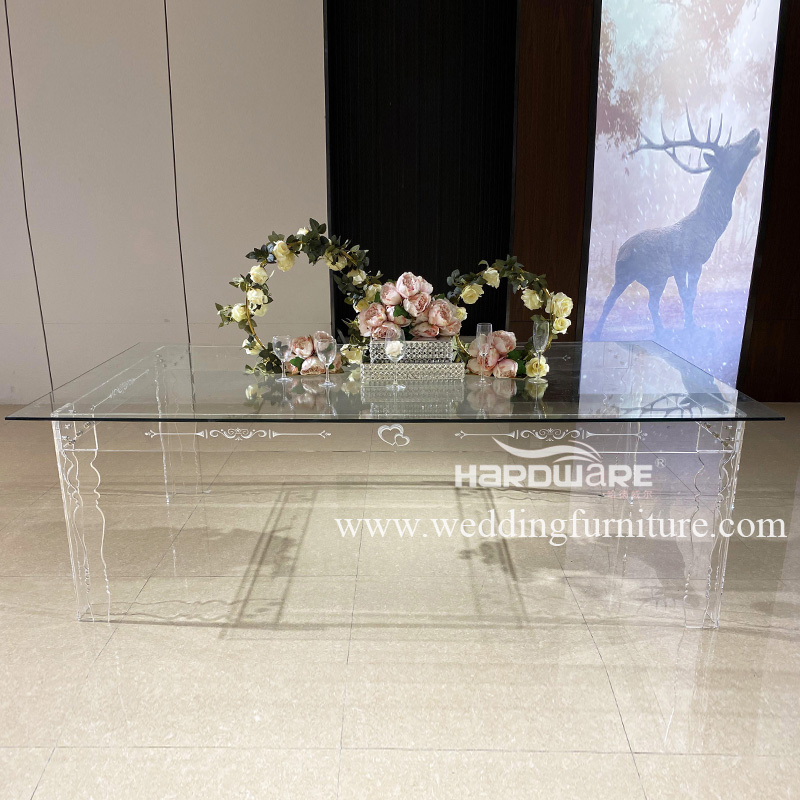 Table glass top transparent acrylic banquet hall table