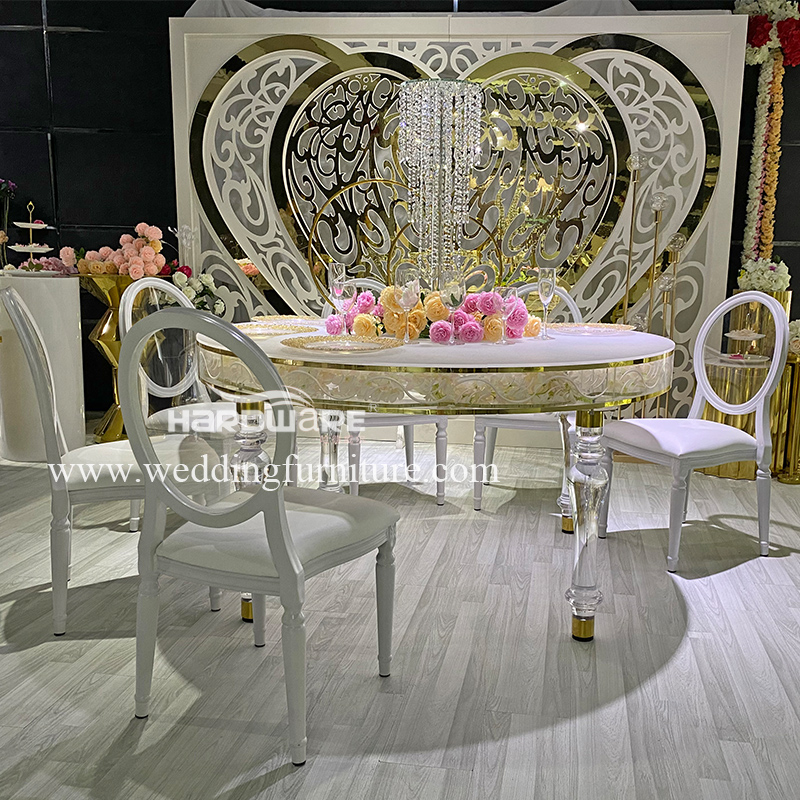 Table clear acrylic round wedding table with LED