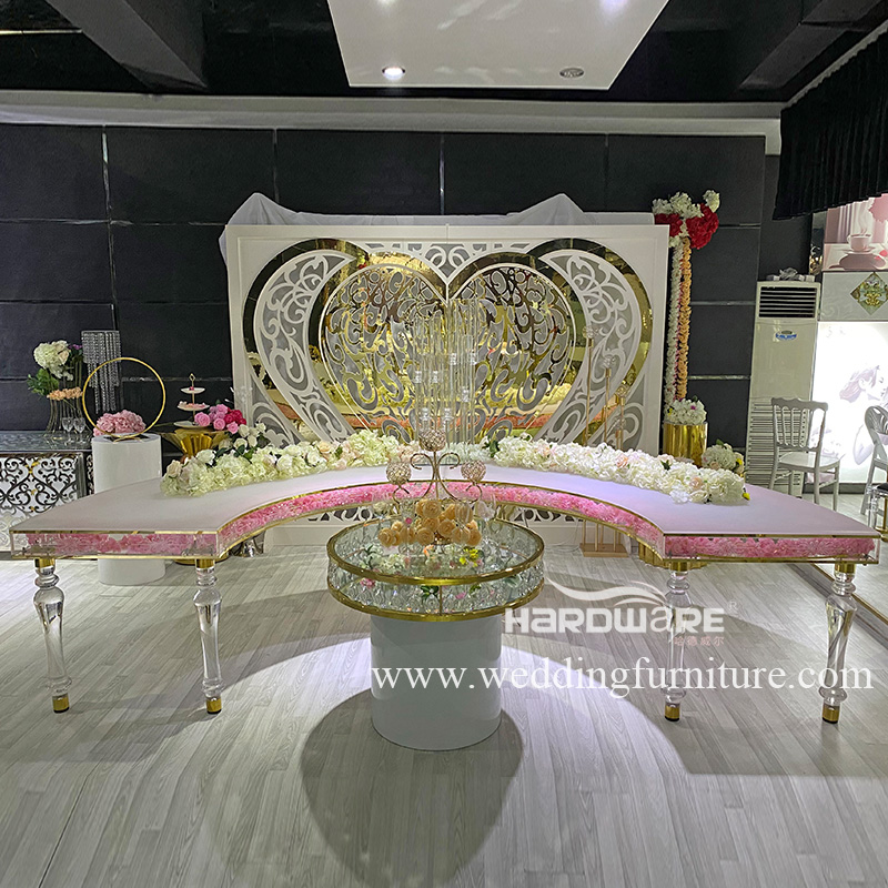 Table half moon shape acrylic wedding table with LED
