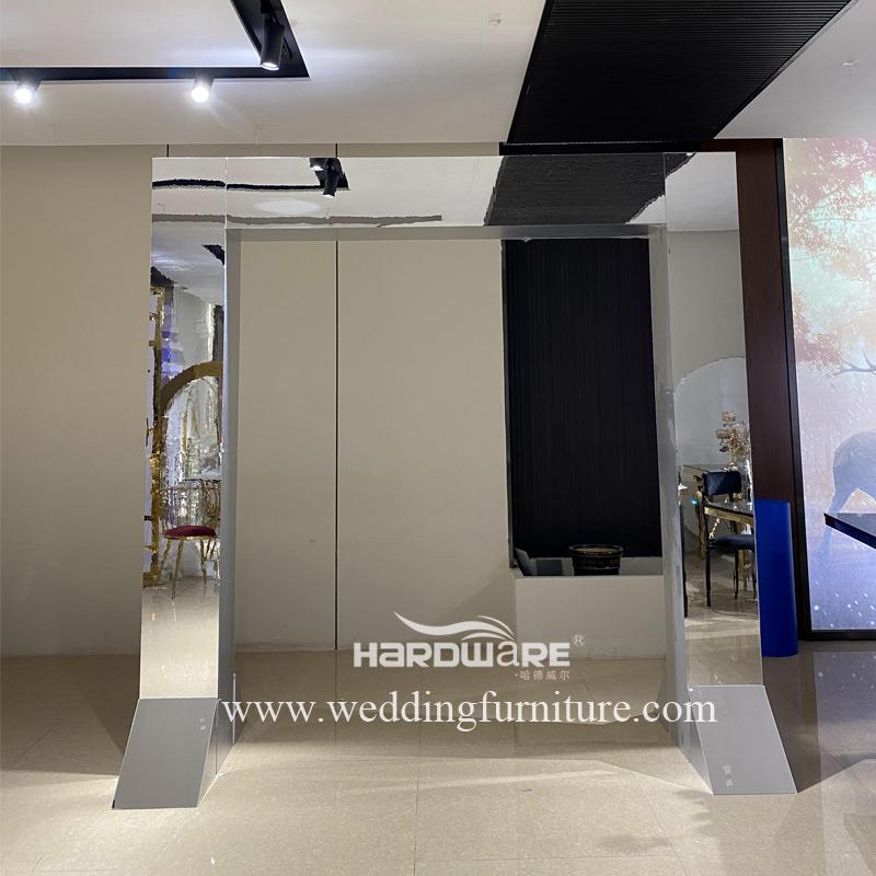 PVC acrylic material arch door shape mirror silver backdrop wedding