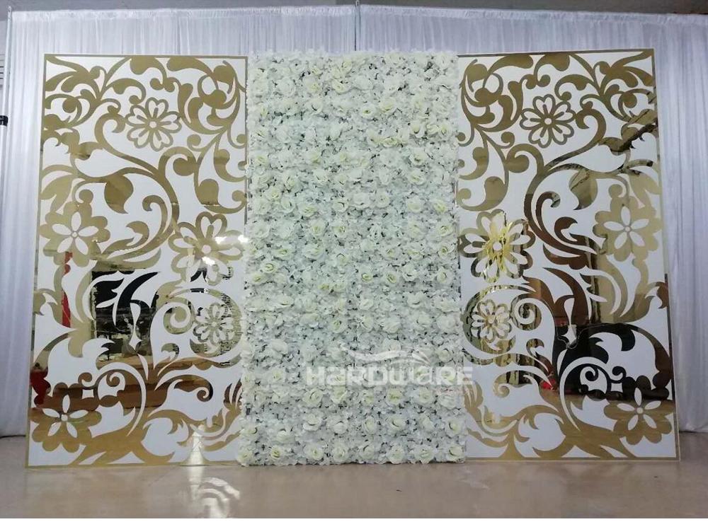 Luxury golden monet white lotus shape wedding backdrop stand