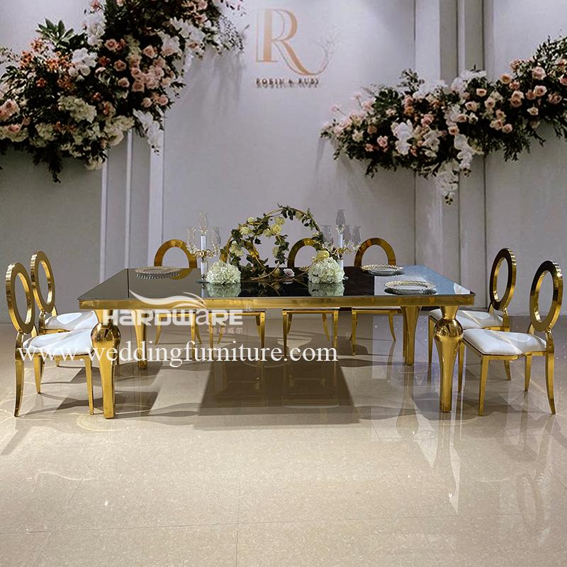 Table custom design mirror glass restaurant table