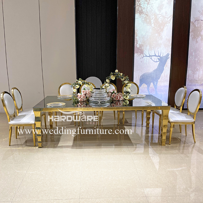 Table gold stainless steel hotel table banqueting