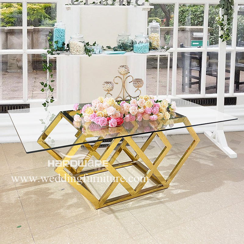 Table diamond design  stainless steel hotel table