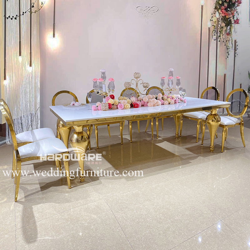 Table golden stainless steel banquet hall table