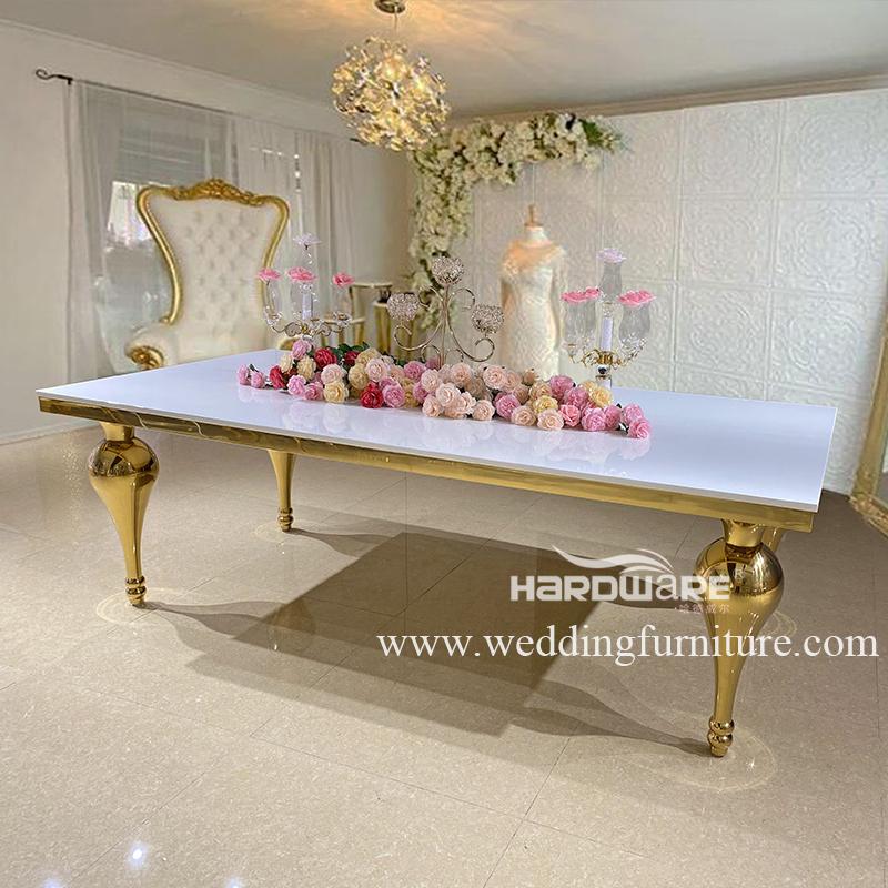 Popular design gold stainless steel dinner table