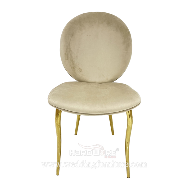 Dining room furniture velvet seat plated legs leisure chair