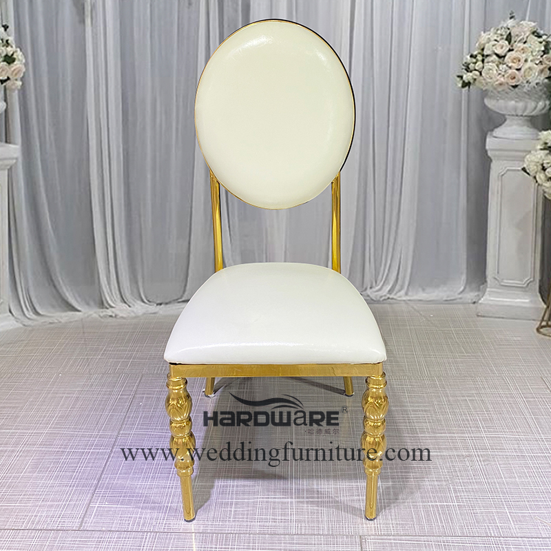 Wedding luxury plated gold stainless steel round back chair