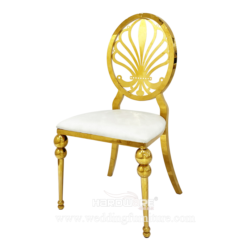 Metal frame hollow back golden stainless steel luxury dining chair