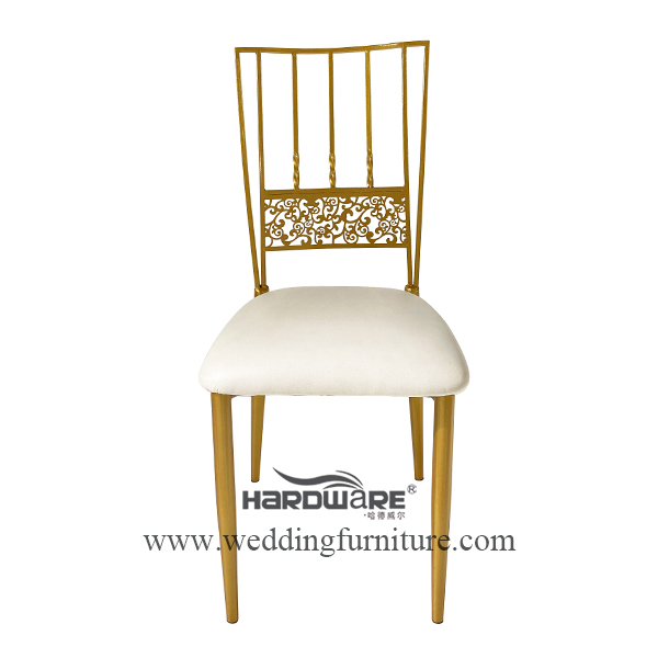 Unique carved design metal event chairs