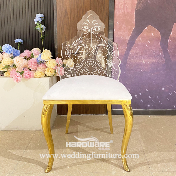 Stainless Steel Frame Clear Acrylic Backrest LED Furniture Chairs