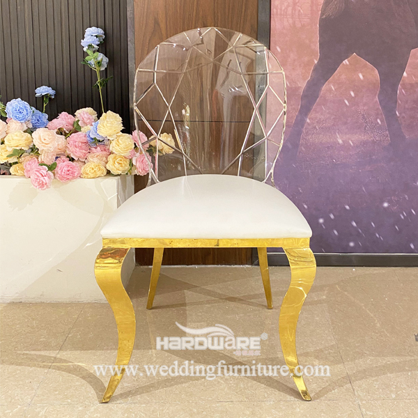 Acrylic Back Can Be Carved Wedding Stainless Steel Chair
