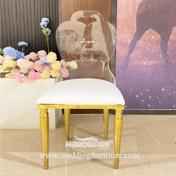 Stainless Steel Furniture LED Banquet Wedding Acrylic Chair With Light