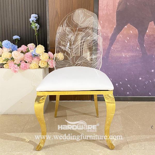 Royal Wedding Metal Legs Led Light Transparent Clear Acrylic Dining Chair