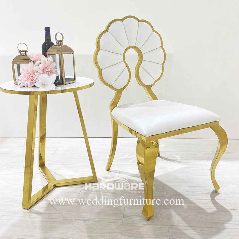 Newest style gold stainless steel metal wedding chair for event