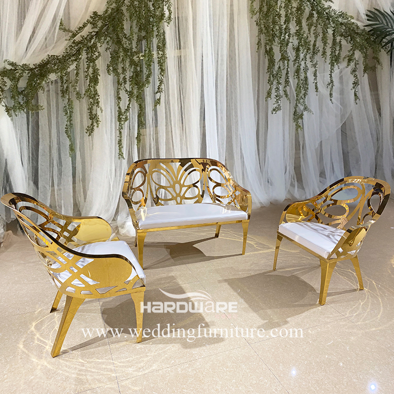 Bride and groom hollow back 3 seater wedding sofa