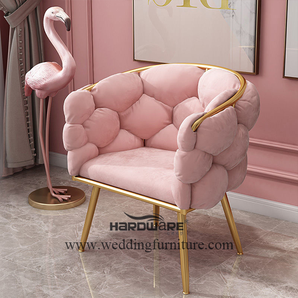 Color cushion iron gilded nordic chair