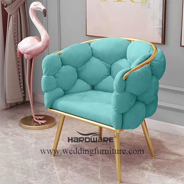 Simple design iron cube leg dining chair