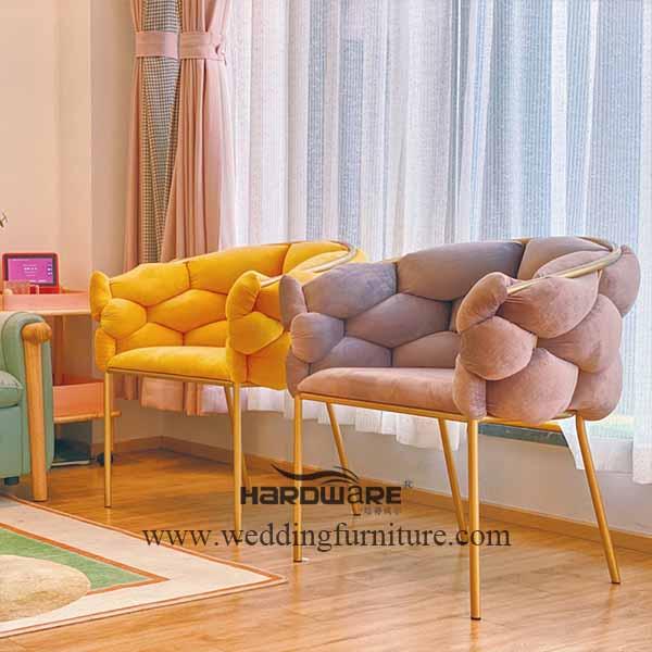Iron gilded series velvet leisure chairs