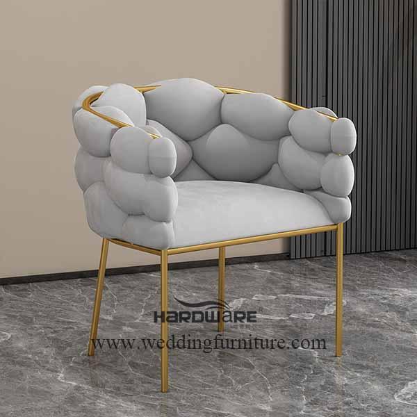 Living room grey velvet lounge chair